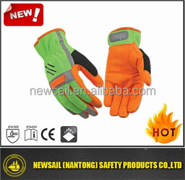 NEWSAIL Mechanical nylon synthetic leather gloves/microfiber light industry safety gloves