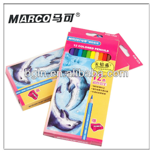12 colors Marco colored pencils with sharpener