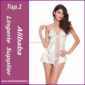 Hot new Sheer Pleasure Satin Babydoll White night dress with G-string
