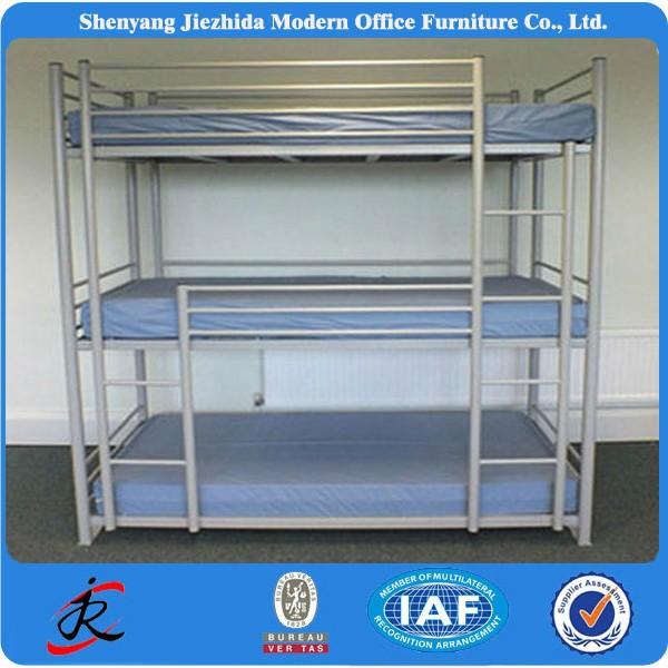 Hause Schlafsaal Schlafzimmer 3 Ebenen Stahl Eisen Bett 3