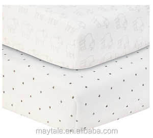 100% cotton jersey knit fitted crib sheet