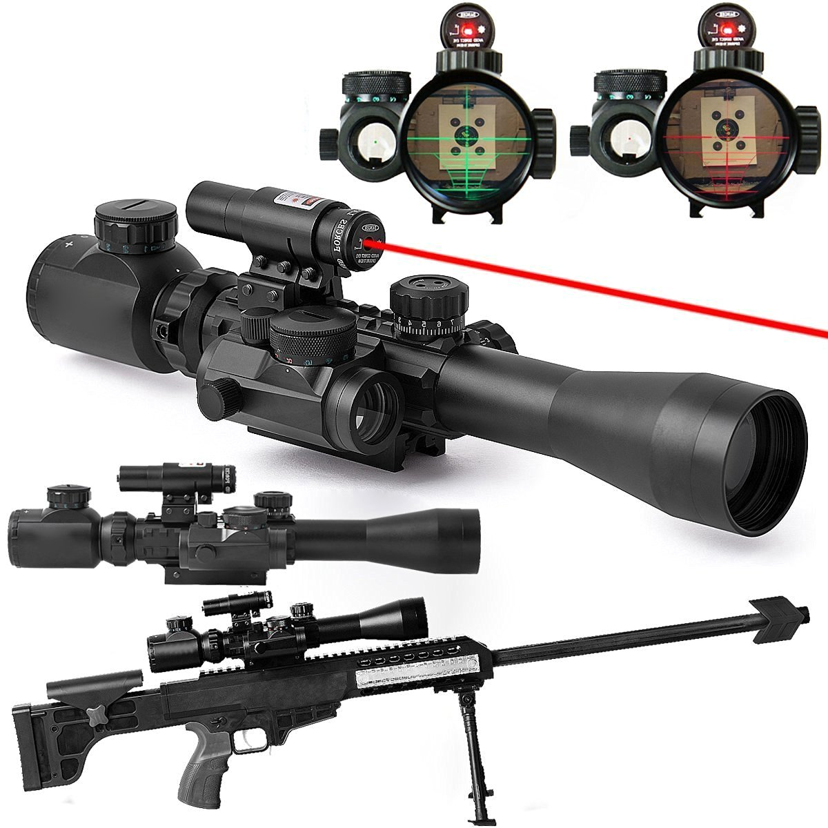 Freehawk® Tactical 3-9x40mm Illuminated Rifle Scope/Gun Scope/Gun Sights with Red Laser & Red Dot Sight of Red / Green Reticle Mount