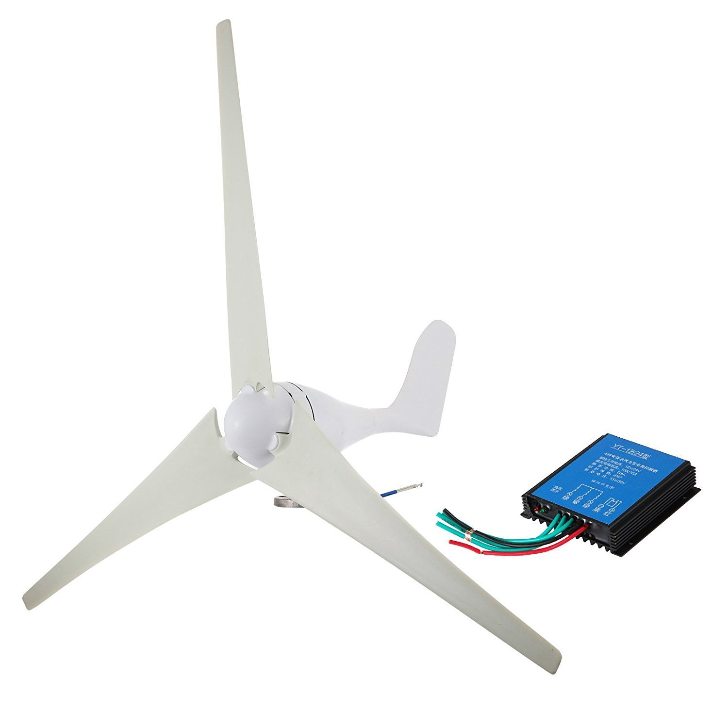 Mophorn Wind Turbine 400W Hybrid Wind Generator DC 12V/24V Hybrid Controller Wind Turbine Generator 20A Hybrid Charge Controller Home Power (400W)