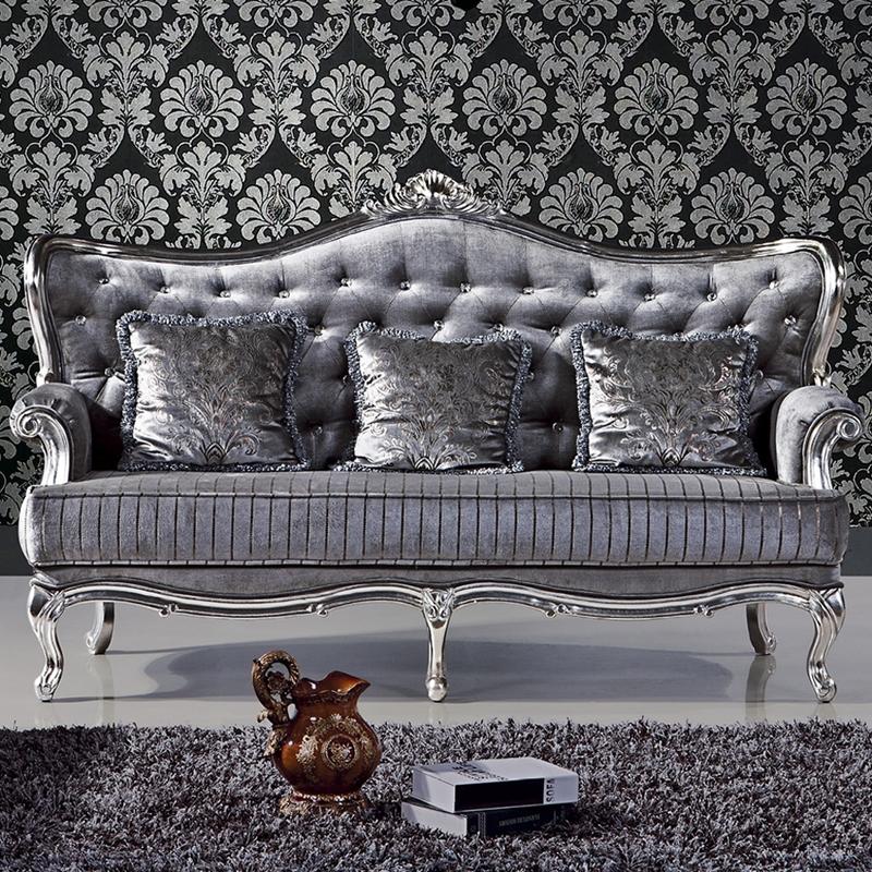 Plateado simples diseños crytal mechones gris sofá 3   2   1 ...
