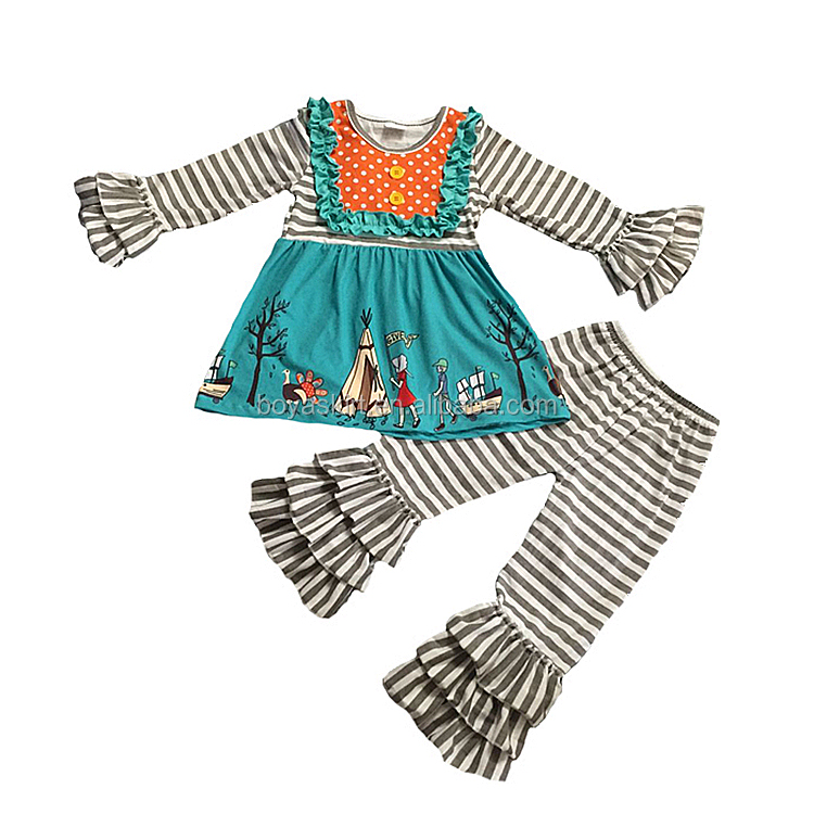 Children clothes suits Boutique Baby Girls fall and winter Clothes Thanksgiving Day ruffle outfits