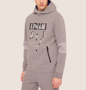OEM Round Collar Custom Logo Printed Hoodie Grey Solid Color Zip Pocket Fashion High Street Men Hoodie