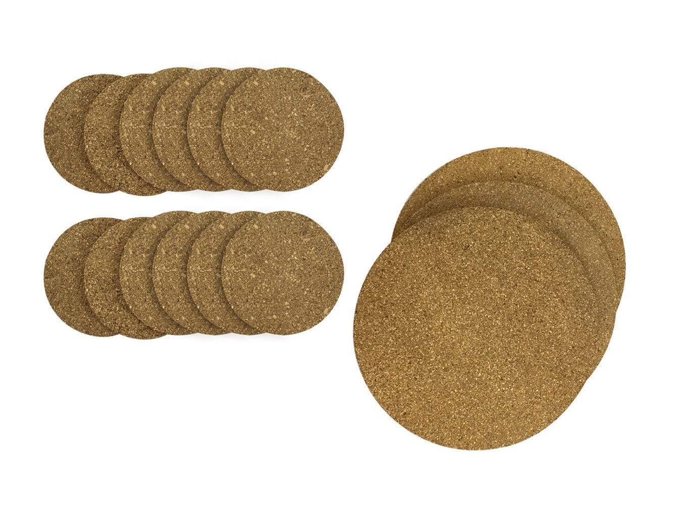 Natural Round 4x4 Cork Coaster Mat Set and 8x8 Cork Trivet Hot Pads Set Bundle, Set of 12 Coasters and 3 Trivets