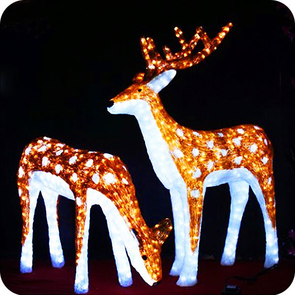 Lawn ornament moving reindeer with lights outdoor christmas deer