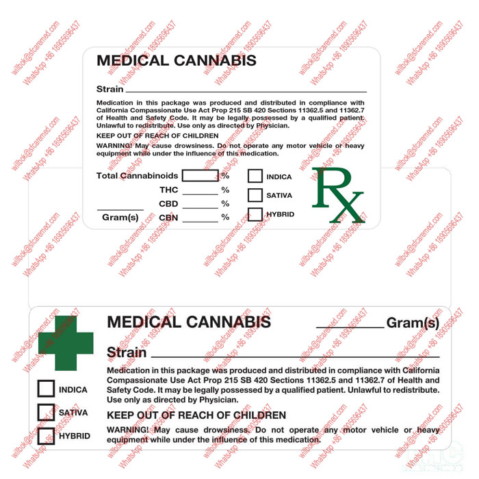 CA California RX medical marijuana labels Strain 100 Labels Weed