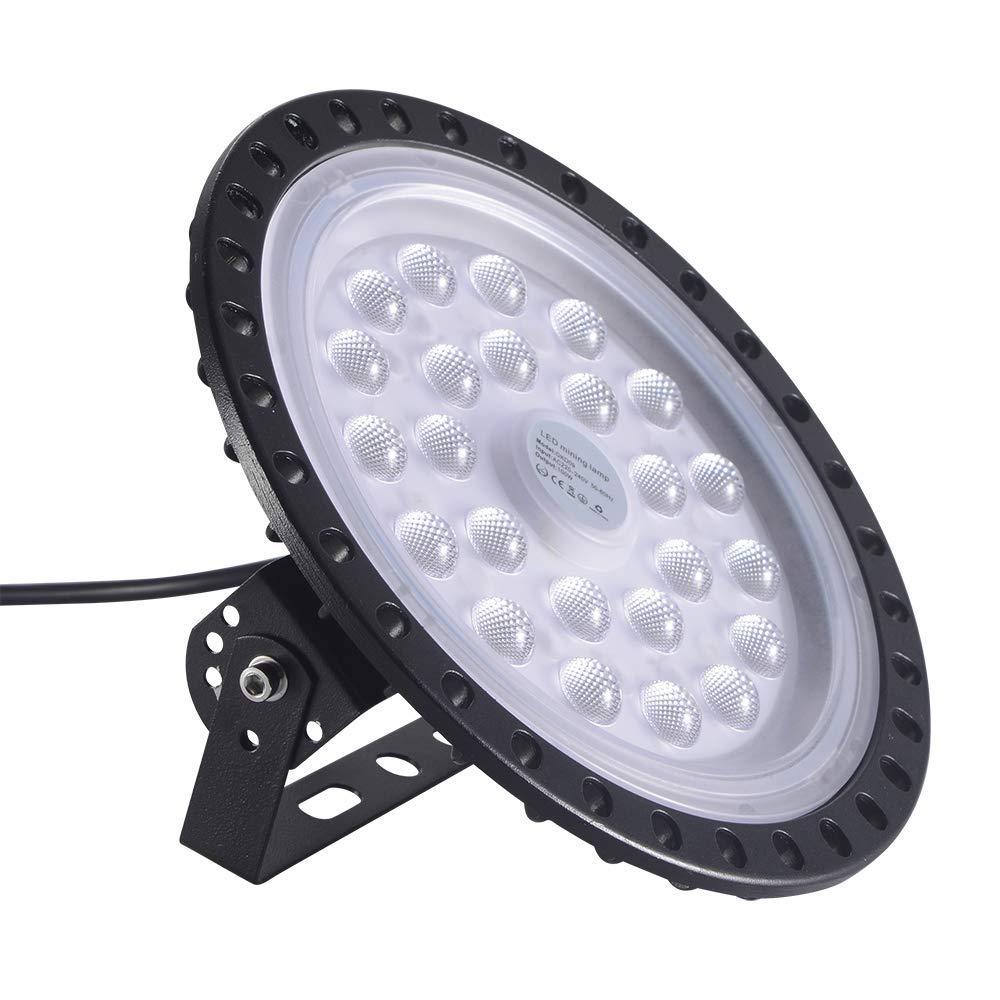 100W UFO LED High Bay Light Factory Warehouse Industrial Lighting 10000 LM 6000-6500K IP65 Warehouse LED Lights- High Bay LED Lights- Commercial Bay Lighting for Garage Factory Workshop Gym (1 PCS)