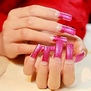 Nail Art Supplies Products Super Long Flat False Nails Hot Pink Glitter French Acrylic Fake