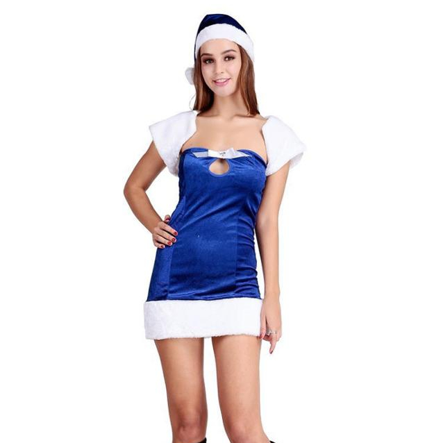 Vrouwen sexy miss kerstman Kostuums voor christmas party fancy dress hooded fluwelen jumpsuit