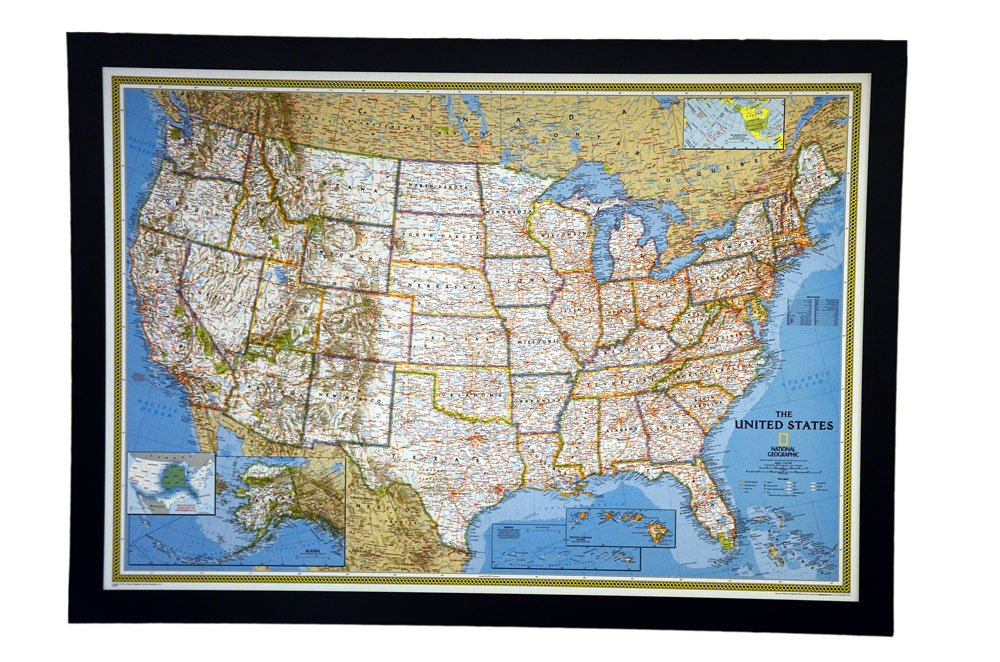 """THE HOTTEST SELLING push pin map of the United States Nat Geo's Classic US Map FRAMED 47 X 34"""" Pin board MAP with Black Satin Finish Frame is the best push pin travel map for home office or class room"""