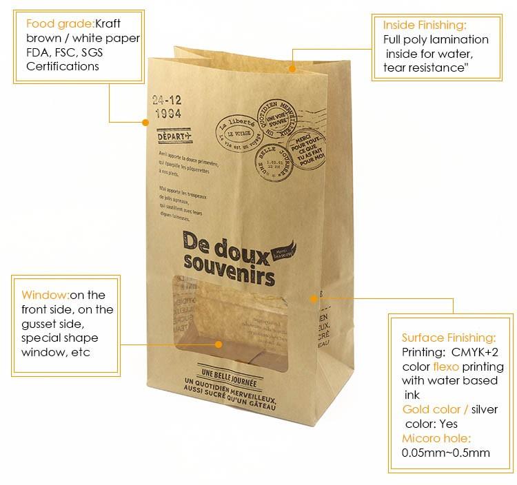 China Wholesale Imprinted Paper Bags,Flat Bottom Bakery Paper Bag ...