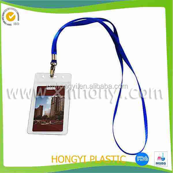 ID Neck Strap Lanyard & Clear PVC Plastic Landscape Wallet Card Pass Holder (Navy)