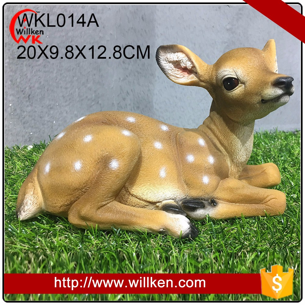 High quality wholesale garden life size christmas decorative sitting deer figurine