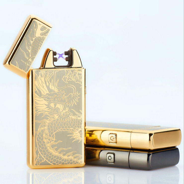 Metal double arc usb electronic charged lighter cigarette lighter