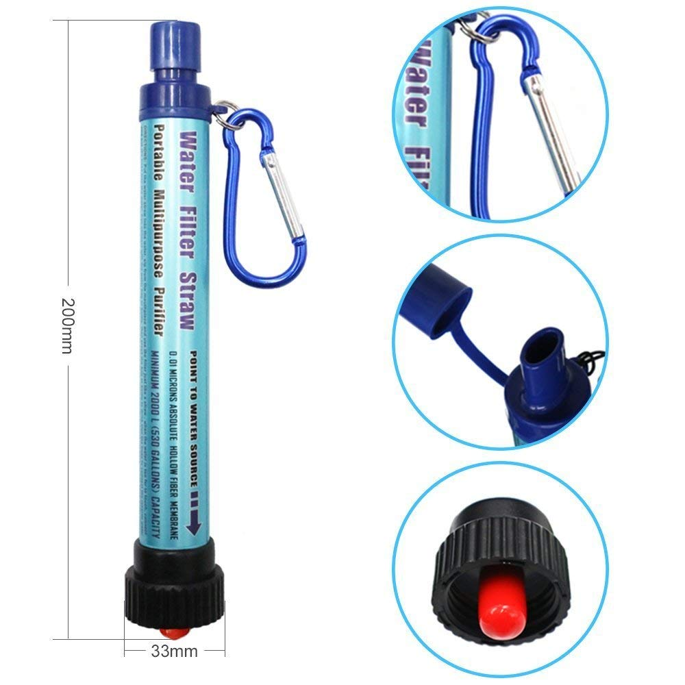 Personal Water Filter, 2000L Mini Portable Water Purifier Straw 0.01 Micron Outdoor Survival kit Emergency Gear Filter for Camping Hiking Sports Traveling Climbing Backpacking