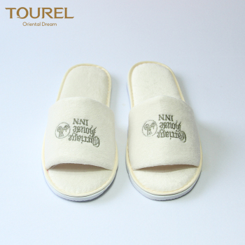wholesale beige color hotel guest room slippers