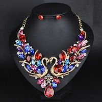 Brilliant quality Romantic Luxury Lady Gold Plated Crystal Necklace Pattern Necklace set