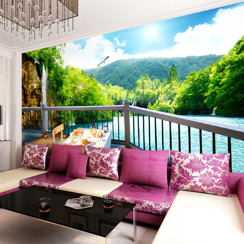 Living Room Wall Murals: Custom Made Green Lake Photo 3d Wallpaper 3d Wall Murals