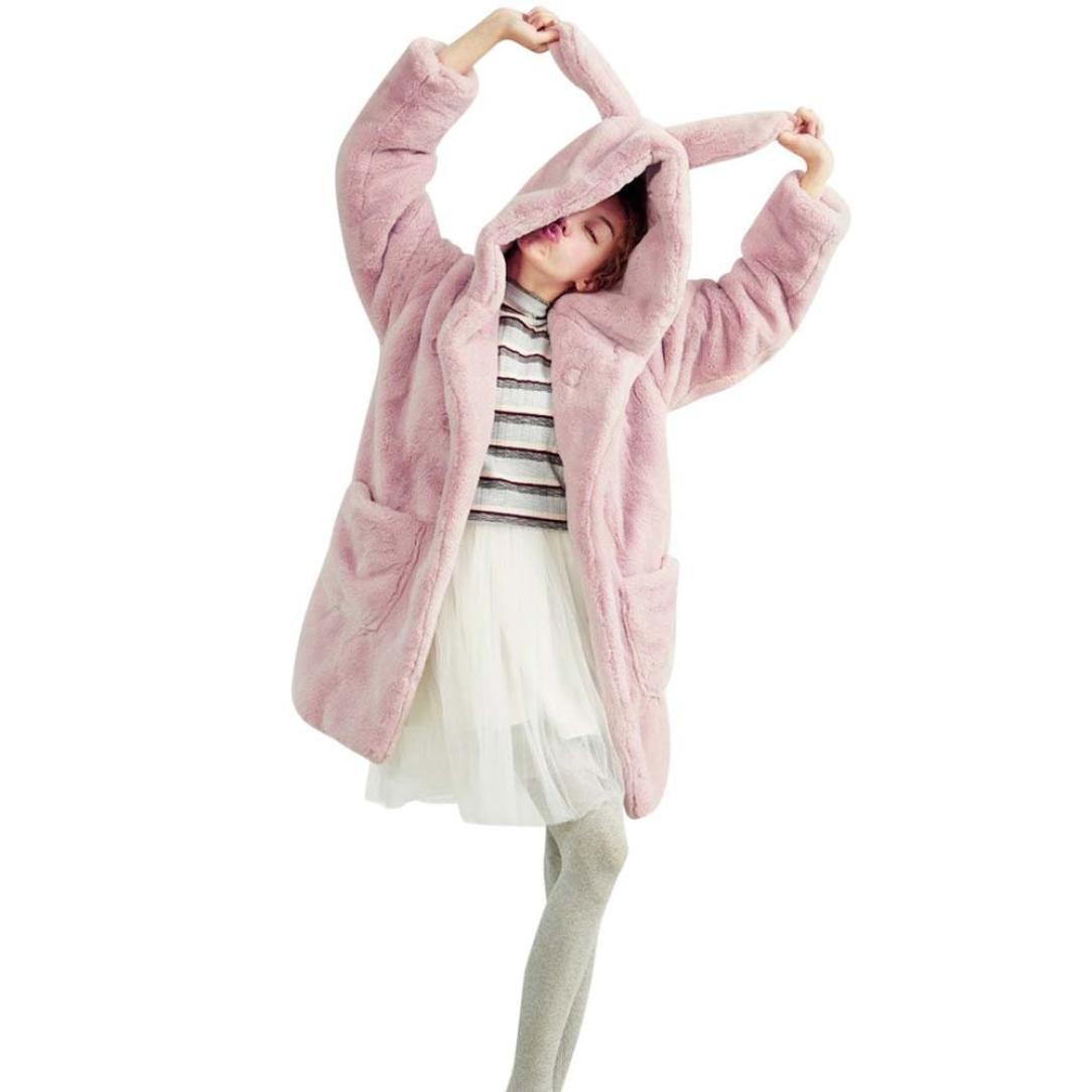 Women Faux Fur Fluffy Hoodie with Rabbit Ears,Aritone Ladies Long Sleeve Winter Warm Plush Rabbit Ears Coat (S, Pink)