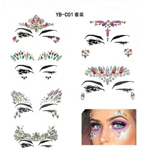 Bohemia Tribal Style 6 Sets 3D Crystal Sticker body Face And Eye Jewels Forehead Stage Decor Temporary Tattoo Sticker