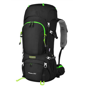 Woqi outdoor Mountain climbing top backpack,Hiking Camping Travel Sports backpack bag 70L+10L with Rain Cover