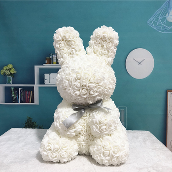 Latest Products in Market Wedding Artificial White Rose Rabbit Gift For Christmas And Valentine's Day