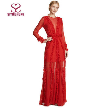 eye catching red chiffon asymmetry long sleeve women dress for porm