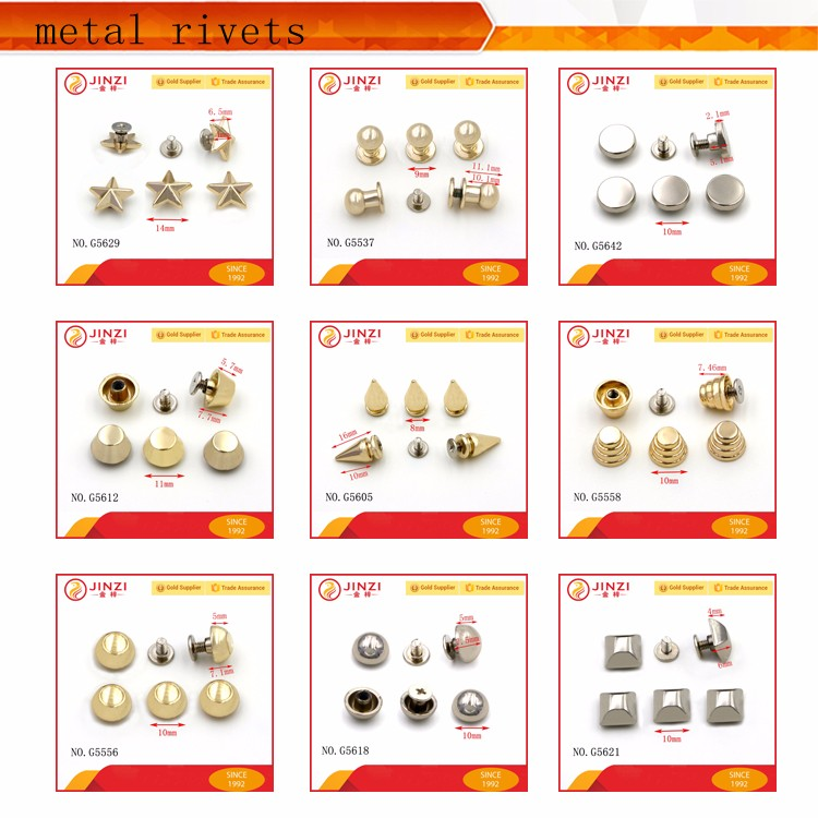 Fashion bag hardware supplier making accessories zinc alloy rivets and studs