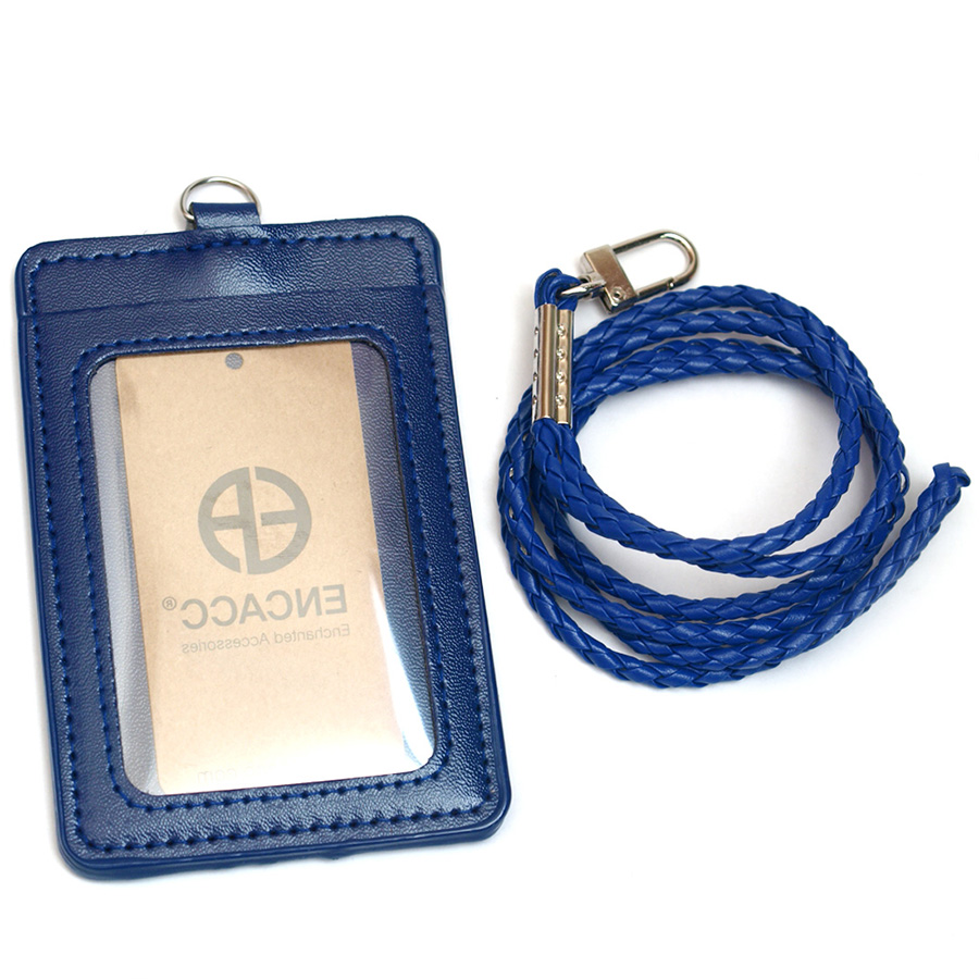 Personalized leather id bus card holder pu lanyard