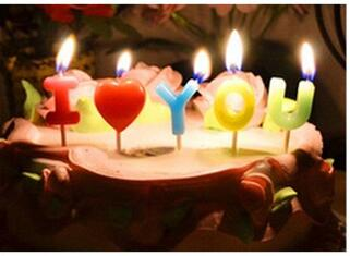 Birthday Wedding Anniversary Candle I Love You Letter Toothpick Cake