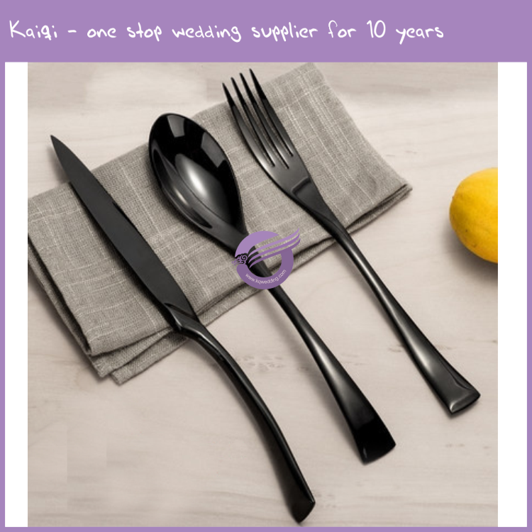 K9396 Factory direct black titanium plated spoons forks knives stainless steel set cutlery