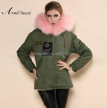 Military Womens Pink Fur Hooded Parka Long Sleeve Fashon Real Fox ...