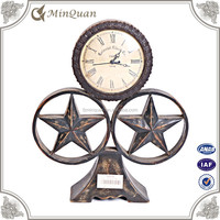 antique wood mantel clock , shabby mdf clock handicraft