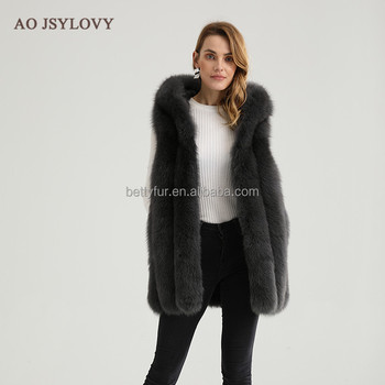 Women slims medium long genuine wish luxury dark fox fur vest with hooded