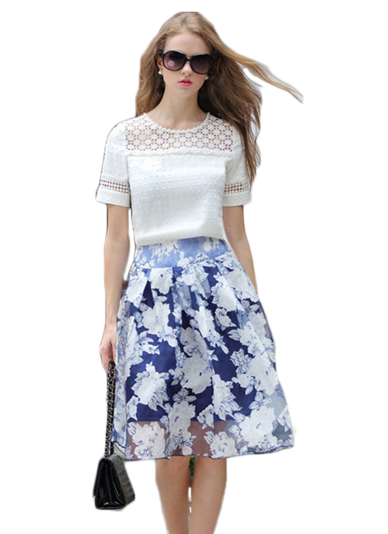 563caf5fa8a9 Get Quotations · 2 Pieces Set Spring Women Fashion Short Sleeve Lace Blouse  + Skirt