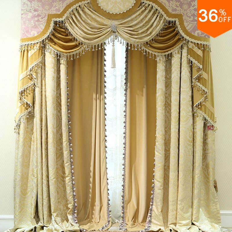 2016 golden shutters with valance beads the classical curtains for windows extreme luxury drapes. Black Bedroom Furniture Sets. Home Design Ideas