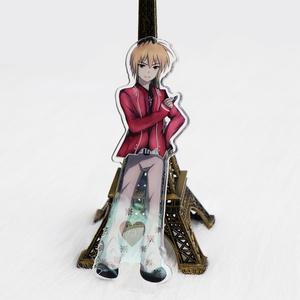 Custom clear double side printed character japan anime acrylic keychain  display stand