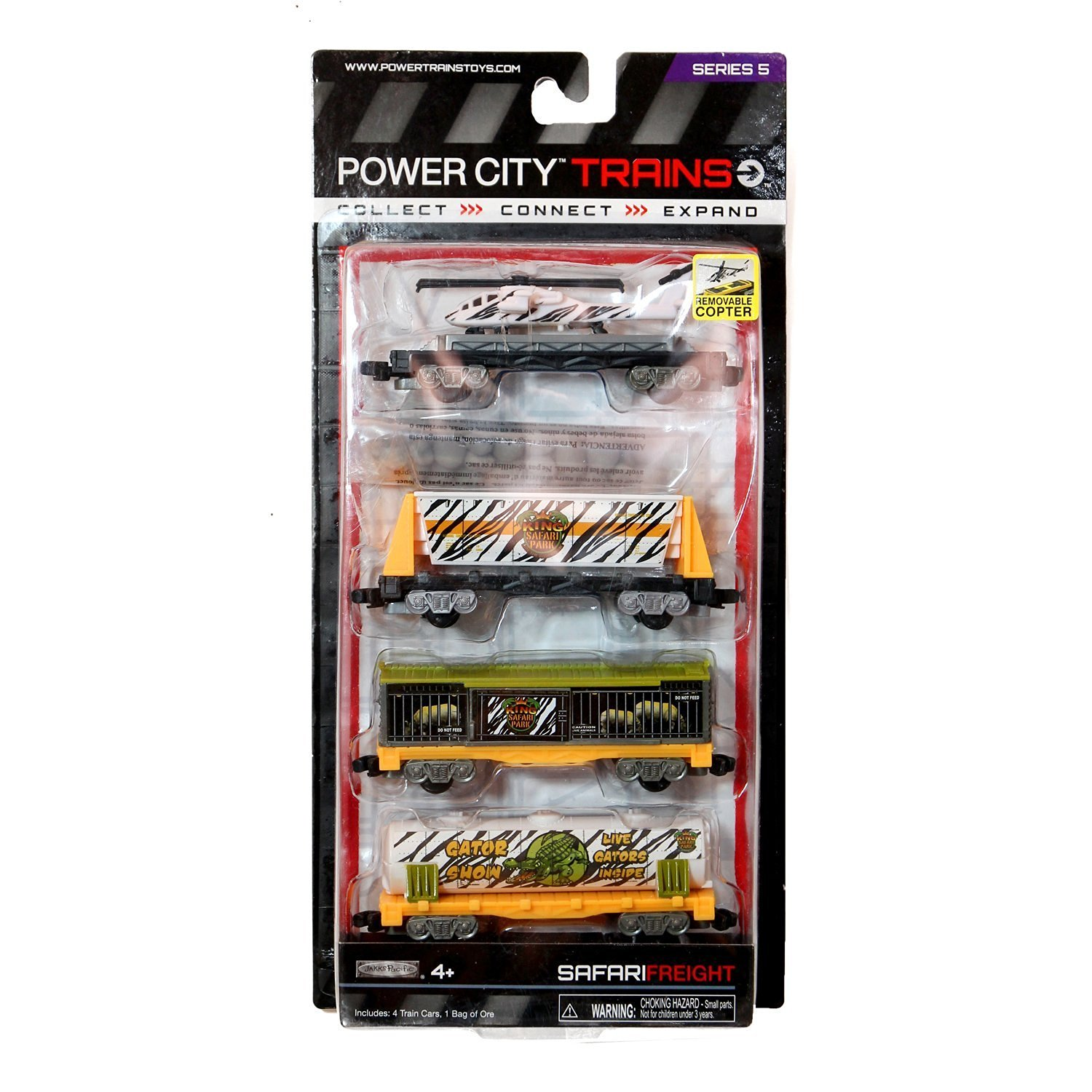 "Jakks Pacific Year 2013 Power City Trains Series 4 Pack Train Accessory Set - King Safari Park SAFARI FREIGHT with Flatbed Trailer with Removable Helicopter, Freight Car with Removable ""Rocks"", Cage Car and Gator Tanker"
