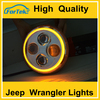 "7"" Round LED Headlight with White&Amber Angel Eyes/Halo Rings for Jeep Wrangler lights"
