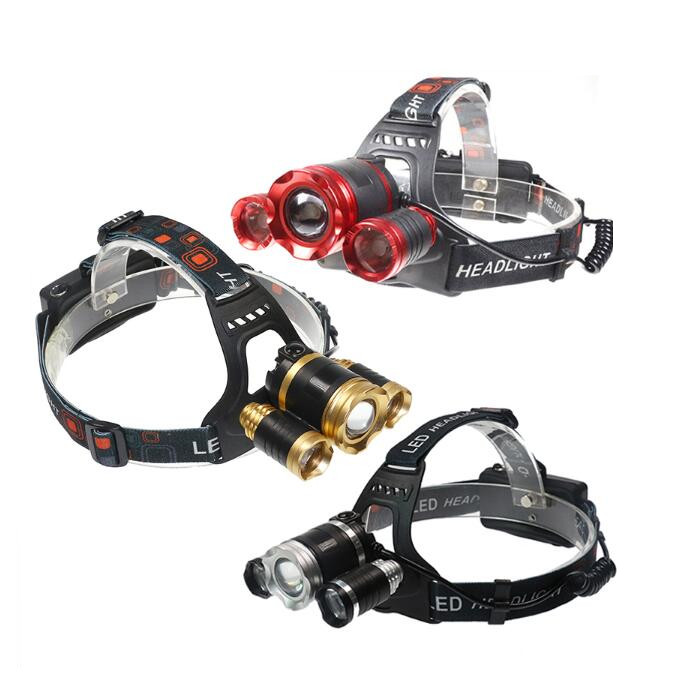Rechargeable Head Torch 10000Lm 3*XML T6 LED Headlight Lamp Zoom 4 mode 18650 Lamp Frontal Fishing Headlight