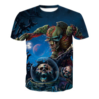 Online Shipping Apparel O Neck T Shirts, Custom halloween Skull 3D Digital printing Men Clothes Print T-Shirt