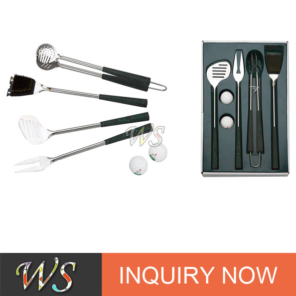 cheapest and high quality stainless steel customizing bbqt tool set with seasoning shakers for golf clup