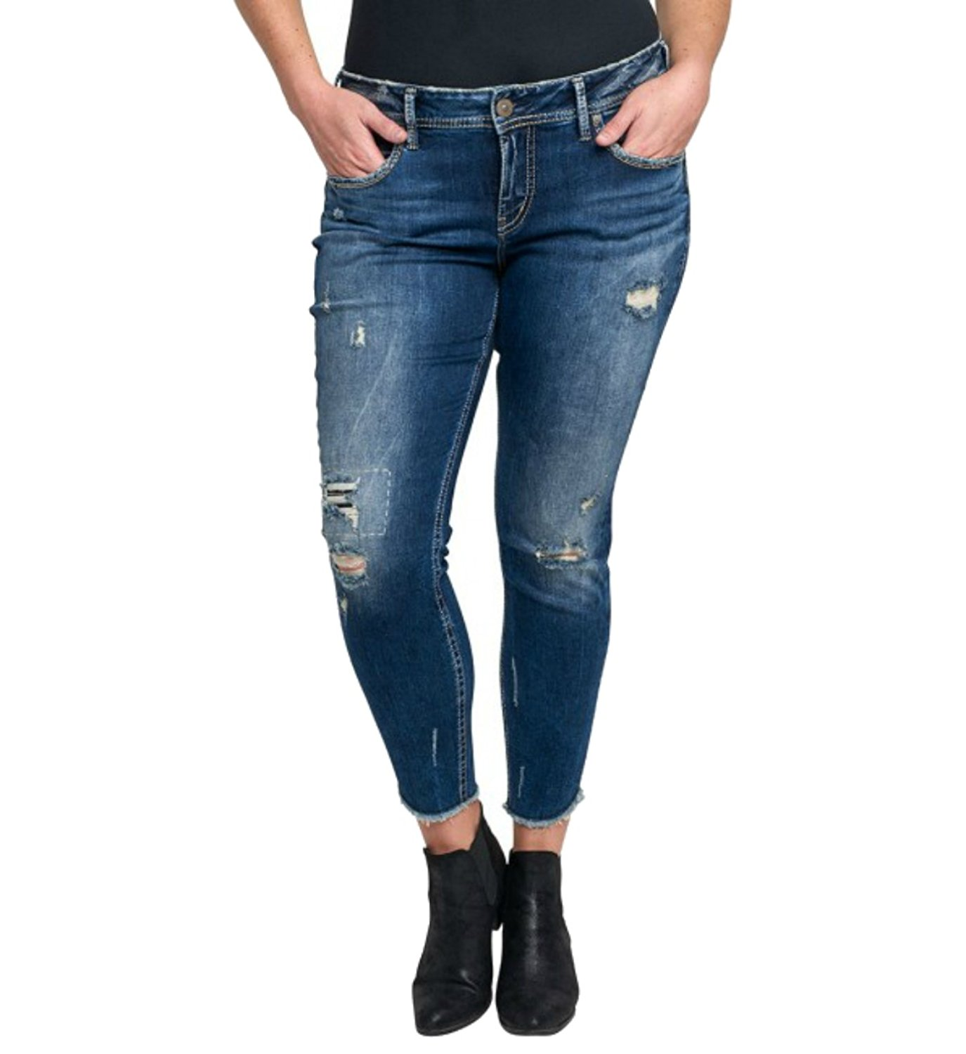 f41b04ddc32 Get Quotations · Silver Jeans Women s Plus Size Suki Mid-Rise Ankle Skinny Jeans  Dark Wash