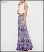 Bohemian style purple women long skirts and tops