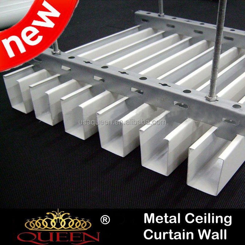 Brand new spray painted hanging baffle ceiling u-shaped linear baffle metal ceiling factory price