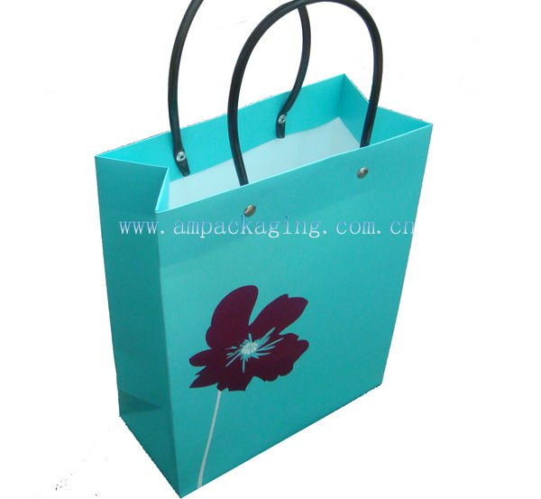 Fashionable Paper Gift Bag with PU Handle