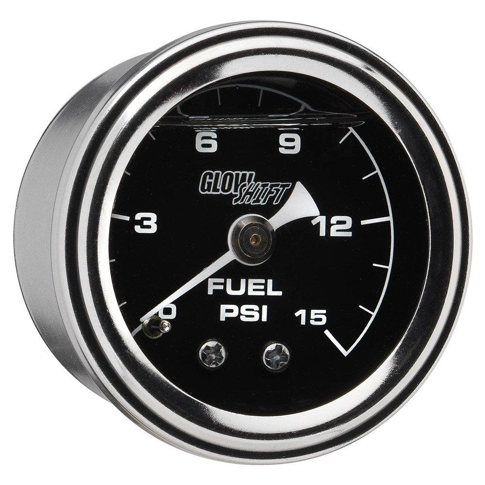 GlowShift Liquid Filled Mechanical 15 PSI Fuel Pressure Gauge - Black Dial - Waterproof - Installs Under the Hood - 1/8-27 NPT Thread - 1-1/2 (38mm) Diameter